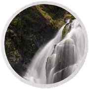 Upper Portion Of Lower Falls Round Beach Towel