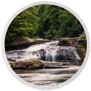 Upper Swallow Falls  Round Beach Towel