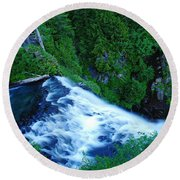 Upper View Of Narada Falls Round Beach Towel