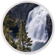 Upper Yellowstone Falls Round Beach Towel