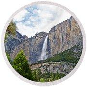 Upper Yosemite Falls From The Valley Floor In Yosemite National Park-california Round Beach Towel