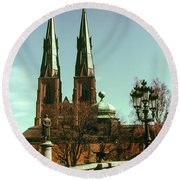 Uppsala Cathedral Steeples Round Beach Towel