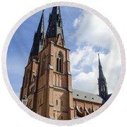 Uppsala Cathedral - Sweden Round Beach Towel
