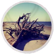 Uprooted Tree On The Beach Round Beach Towel