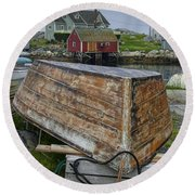 Upside Down Boat In Peggy's Cove Harbour Round Beach Towel