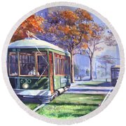 Streetcars Uptown New Orleans Round Beach Towel