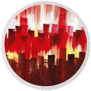 Urban Abstract Evening Lights Round Beach Towel