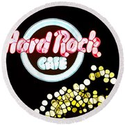 Urban Abstract Hard Rock Cafe Round Beach Towel