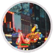 Urban Abstract Nashville Neon Round Beach Towel by Dan Sproul