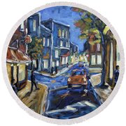 Urban Avenue By Prankearts Round Beach Towel by Richard T Pranke