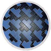 Urban Blue City Boxes Cube Leather Round Beach Towel