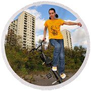 Urban Bmx Flatland With Monika Hinz Round Beach Towel