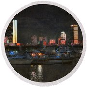 Urban Boston Skyline Round Beach Towel