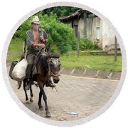 Urban Cowboy Round Beach Towel