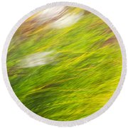 Urban Nature Fall Grass Abstract Round Beach Towel