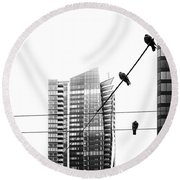 Urban Pigeons On Wires Round Beach Towel