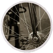 Urban Spokes In Sepia Round Beach Towel