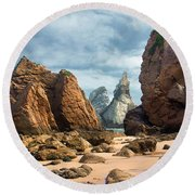Ursa Beach Rocks Round Beach Towel