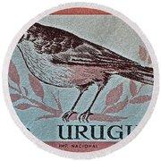Uruguay Bird Stamp - Circa 1962 Round Beach Towel