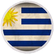 Uruguay Flag Vintage Distressed Finish Round Beach Towel