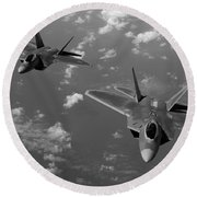 U.s. Air Force F-22 Raptors In Flight Near Guam. Round Beach Towel