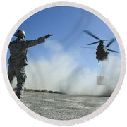 U.s. Air Force Master Sergeant Guides Round Beach Towel
