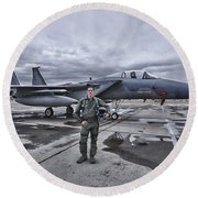 U.s. Air Force Pilot Standing In Front Round Beach Towel