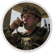 U.s. Air Force Soldier Communicates Round Beach Towel