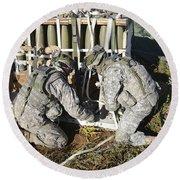 U.s. Army Europe Soldiers Perform Round Beach Towel