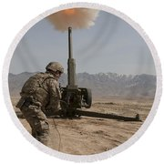 U.s. Army Soldier Fires A 122mm Round Beach Towel