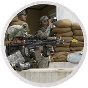 U.s. Army Soldier Looks Down The Scope Round Beach Towel