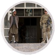 U.s. Army Soldier Stands Guard In Farah Round Beach Towel