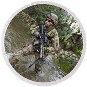 U.s. Army Soldier Walks Through A Creek Round Beach Towel