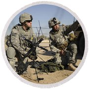 U.s. Army Soldiers Setting Round Beach Towel by Stocktrek Images