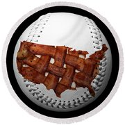 Us Bacon Weave Map Baseball Square Round Beach Towel by Andee Design