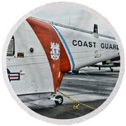 Us Coast Guard Helicopter Round Beach Towel