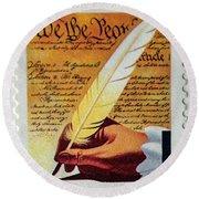 Us Constitution Stamp Round Beach Towel
