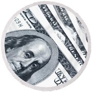 Us Dollar Bills  Round Beach Towel