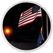 Us Flag Arizona Flag Twilight Casa Grande Arizona 2005 Round Beach Towel