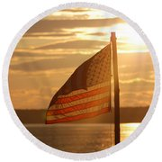 Us Flag At Sunset Round Beach Towel