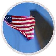 Us Flag At Washington Monument At Dusk Round Beach Towel