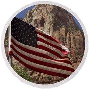 U.s. Flag In Zion National Park Round Beach Towel