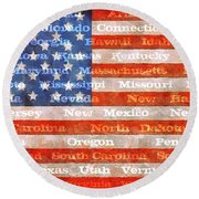 Us Flag With States Round Beach Towel