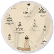 Lighthouses Of The West Coast Round Beach Towel