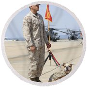 U.s. Marine And The Official Mascot Round Beach Towel