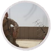 U.s. Marine Looks Up To The Sky While Round Beach Towel