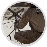 U.s. Marine Repositions A Satellite Round Beach Towel