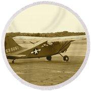 U.s. Military Recon Single Engine Plane Round Beach Towel