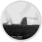 U.s. Naval Air Base Hangar One Is One Of The World's Largest Fre Round Beach Towel