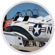 Us Navy Plane 001 Round Beach Towel